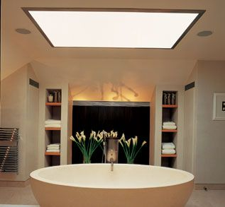 Use opaque panels in a windowless bathroom to create light for Windowless bathroom design ideas