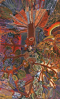 Hector Tjupuru Burton, 'Punu,' 2011, acrylic on linen, 198 x 122 cm. Tjala Arts; Raft Artspace, Alice Springs.