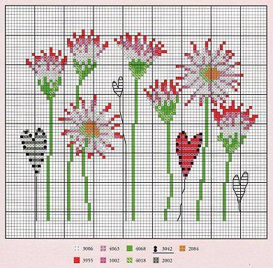 Flowers & Hearts cross-stitch
