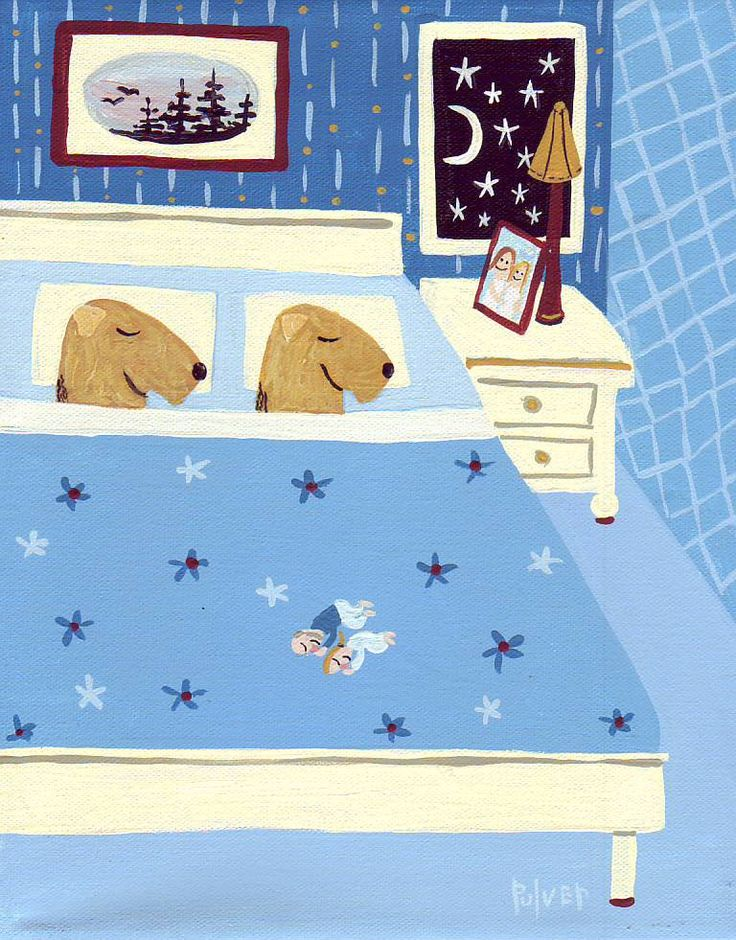 Welsh Terriers in Bed Art Print - Blue Bedroom 8x10 Dog Illustration - People Have to Sleep at Foot of Bed. $18.00, via Etsy.