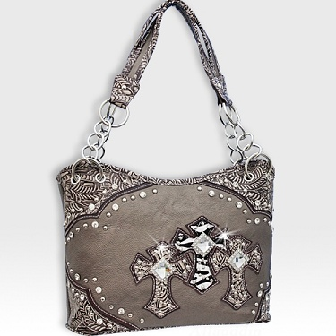 Pewter Rhinestone Western Cross Purse