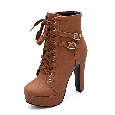 Women's Shoes Leatherette Chunky Heel Riding Boots / Fashion Boots / Bootie Boots Outdoor / Office & Career 4640051 2017 – $34.19