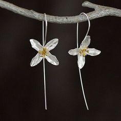 925 Sterling Silver Flowers Long Drop Earrings for women Elegant Dangle Earings…