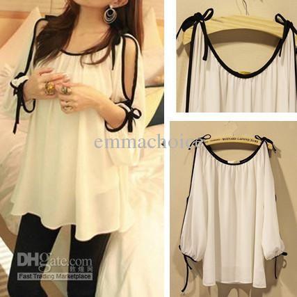Wholesale Ladies Blouses - Buy Korean Womens Fashion Cut Out Open Shoulder Bowknot Chiffon Loose Blouse Tops in White Color, $17.27 | DHgate