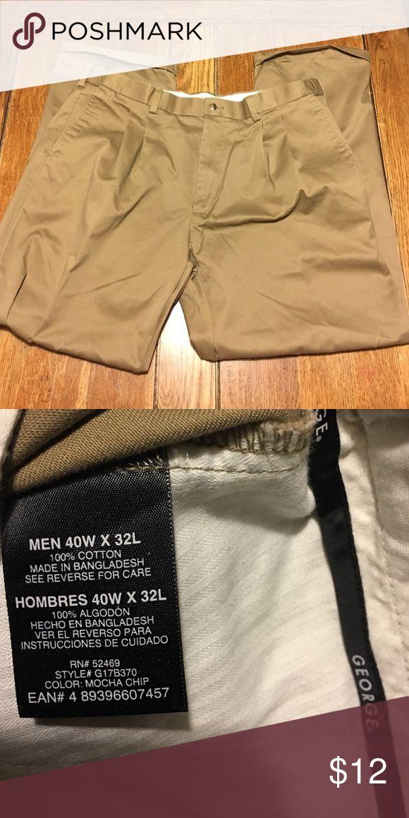 [ George ] Men's Pleated Khaki Dress Pants 40x32. Men's dress pants. No damage, like new. Machine-washable. Smoke-free home. George Pants Dress