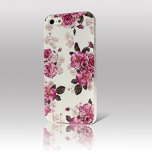 Salcar® Handyhülle für iPhone 5 5S mit gratis Displayschutzfolie-Set, PC Hard Case, Blumen Muster - Pfingstrose (klein):Amazon.de:Elektronik