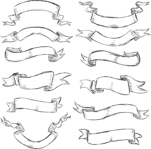 Hand drawn vintage ribbon benner vector 07 | Brushes & Vectors ...