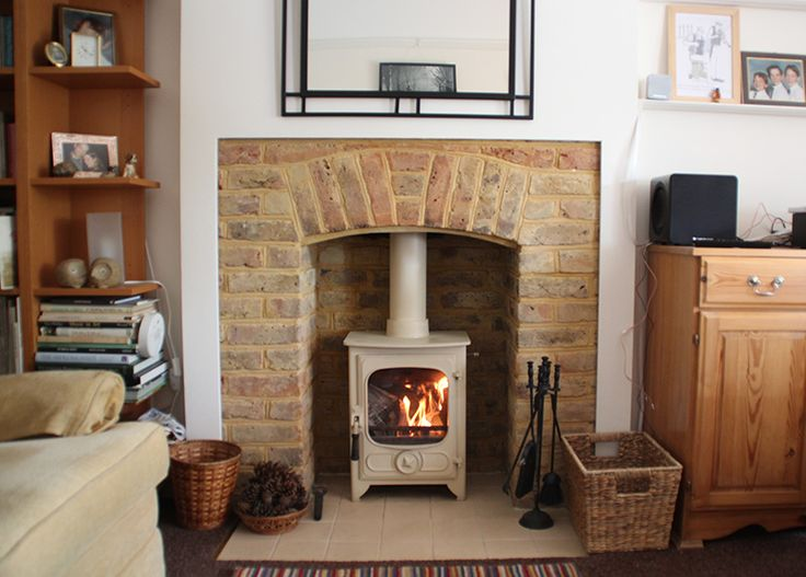 Original 1920's repointed brick chamber with cream tiled hearth and  Charnwood Country 4 wood stove. - 97 Best Images About Bespoke Fireplaces With Charnwood Wood Stoves