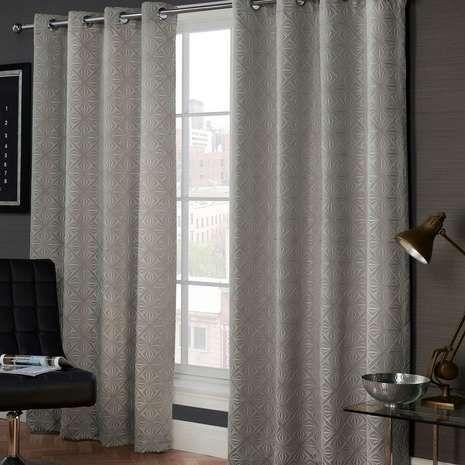 Marnie Grey Eyelet Curtains   Dunelm