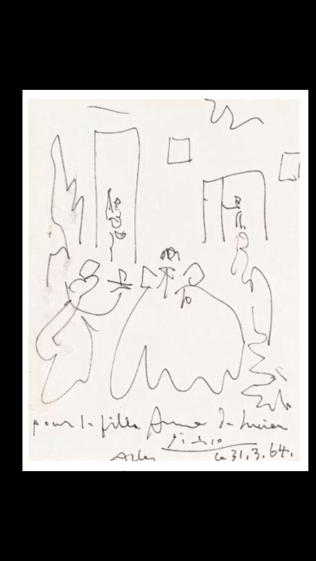 """Pablo Picasso -"""" Les ménines """", 31 III 1964 (dated and inscribed """" Picasso 31.03.1964, pour la fille Anne de Lucien, Arles) - Black felt-tip pen on paper - 32 x 25 cm (..)"""