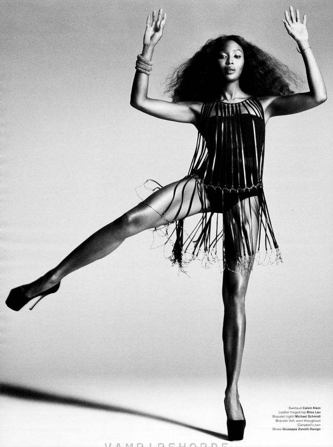 Naomi Campbell in high fashion editorials | She can make a simple move look so high fashion.