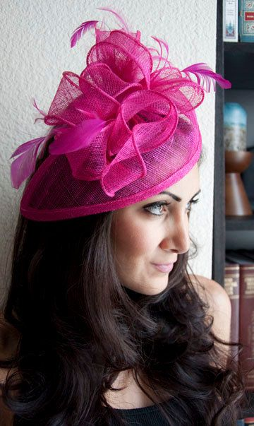 PENNY Fuchsia / Hot Pink Mesh Hat Feather Fascinator Headband for Weddings, Derbys, and Special Occasions. $54.00, via Etsy.