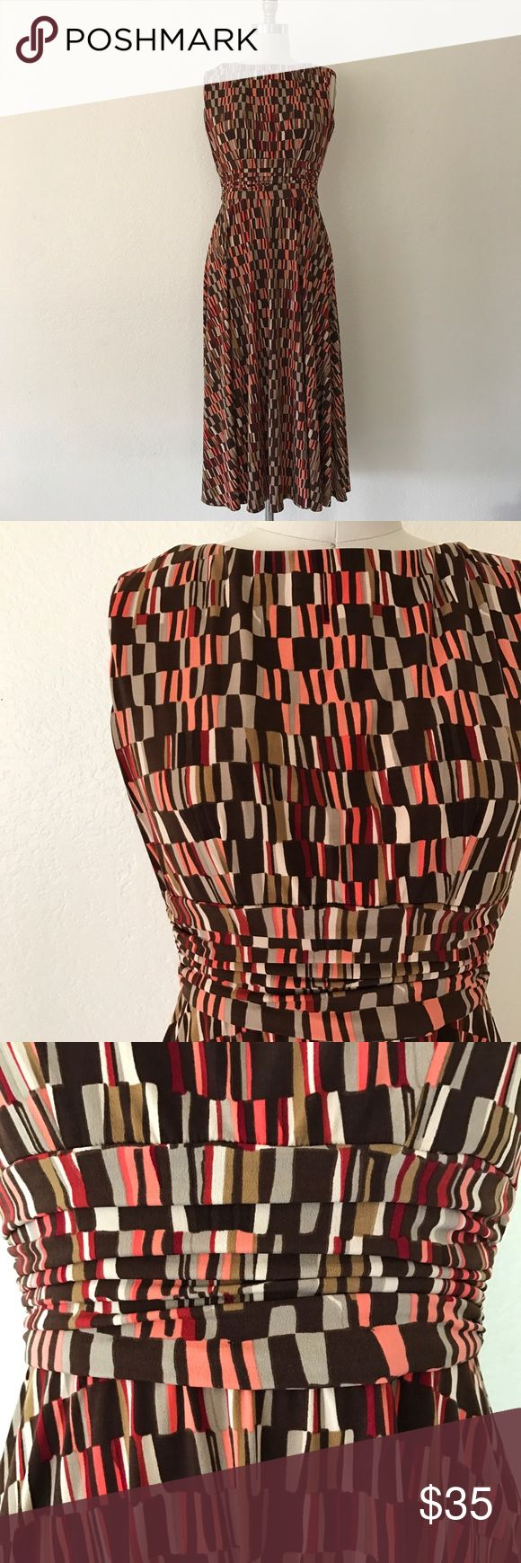 """Vintage 90s Pink & Brown Tea Dress Vintage 90s Jessica Howard Brown & Pink Sleeveless Tea Dress  Back zip, gathered waistband, below the knee, lined 96% Polyester, 4% Spandex 100% Polyester Lining  Size Petite 4  Approximate Flat Measurements Bust 17"""" Waist 13"""" Length 46"""" Vintage Dresses Midi"""