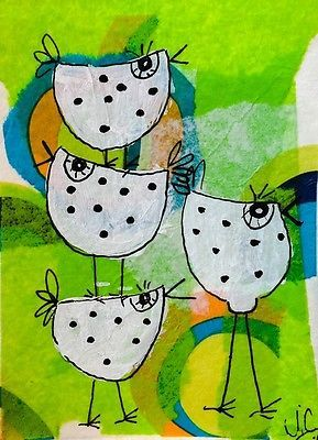 ACEO collage birds Penny auction