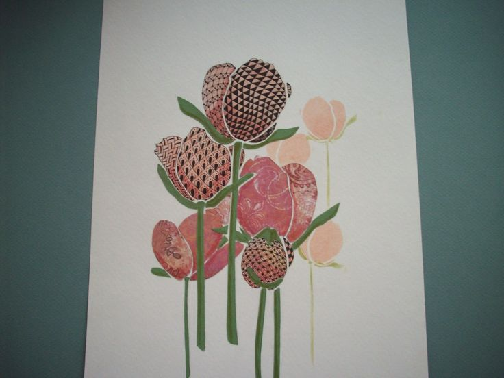 """Various ways to use a stencil.  Joggles stencil """"tulips"""""""