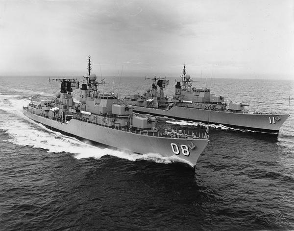 1973 Modernized Daring Class destroyers HMAS VENDETTA (08) and HMAS VAMPIRE (11) off Jervis Bay - Photo RAN Historical. Kookaburra2011 / Foter / CC BY-NC-SA