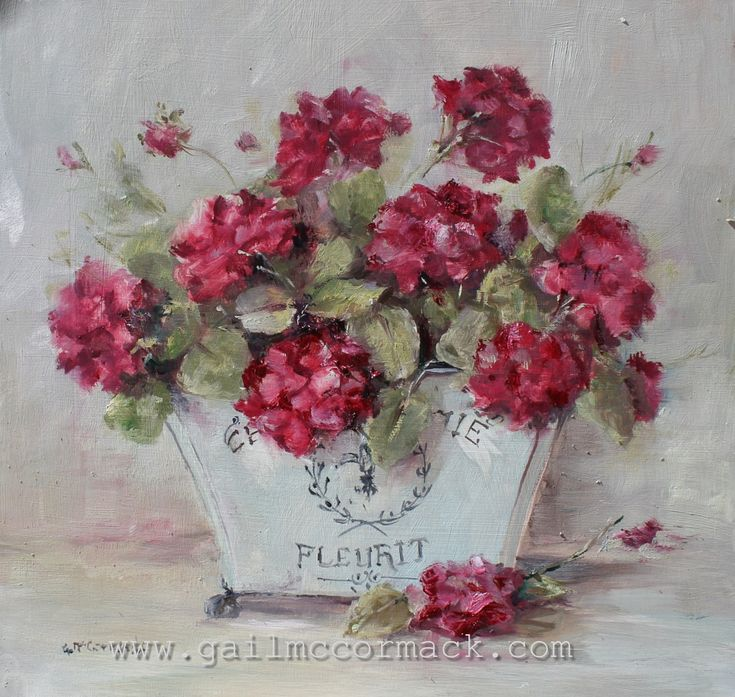 Geraniums in a French Container