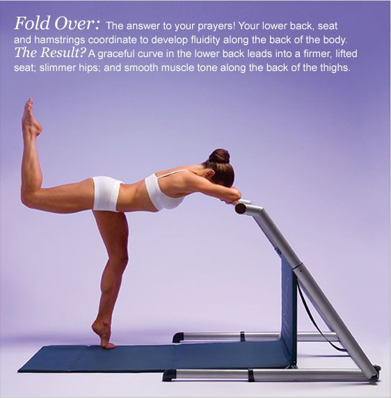 Fluidity Fold Over: The answer to your prayers! Your lower back, seat and hamstrings coordinate to develop fluidity along the back of the body. The Result? A graceful curve in the lower back leads into a firmer, lifted seat; slimmer hips; and smooth muscle tone along the back of the thighs.