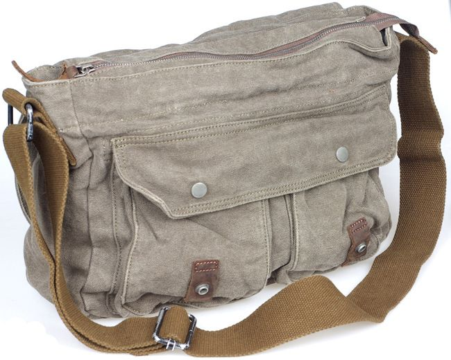 New Virginstone Mens Canvas Leather Vintage Military Messenger Bags