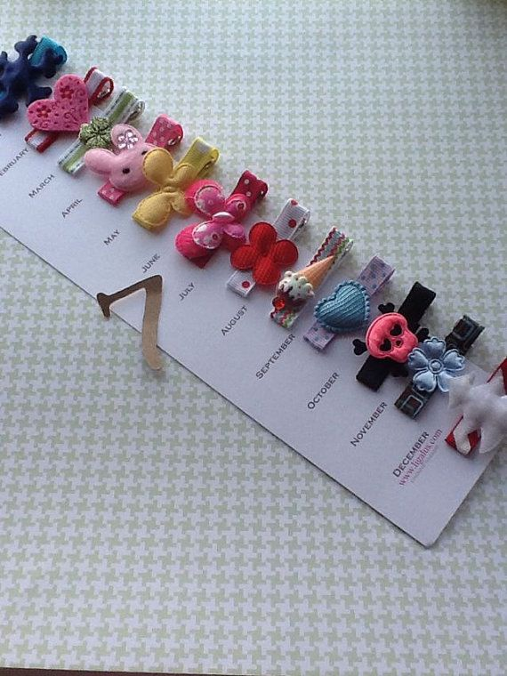 Month by Month Hair Clips. Would make a diy cute gift!