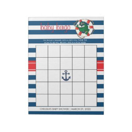 Cute Nautical Alligator Baby Shower Bingo Game Notepad - baby shower ideas party babies newborn gifts