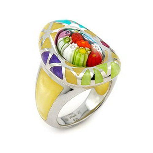 Murano Glass Millacreli Murano Glass Yellow Multicolor Oval Sterling Silver Ring, Size 7 Millacreli. $75.00