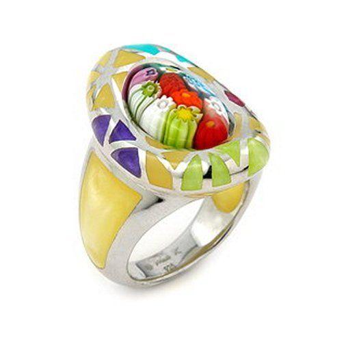 Murano Glass Millacreli Murano Glass Yellow Multicolor Oval Sterling Silver Ring, Size 7 Millacreli. $75.00