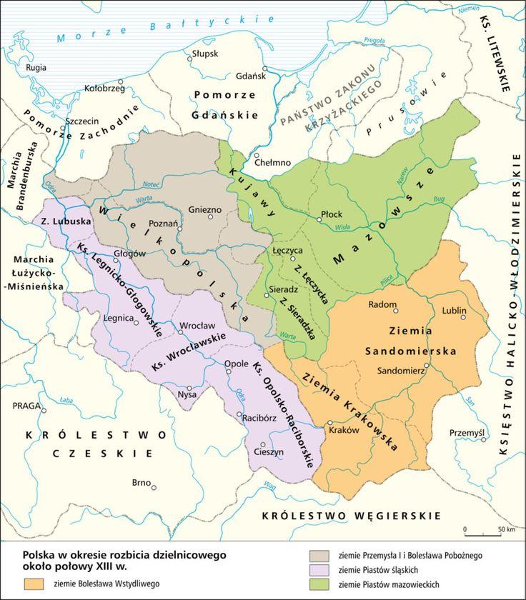 Polska w okresie rozbicia dzielnicowego około połowy XIII w..