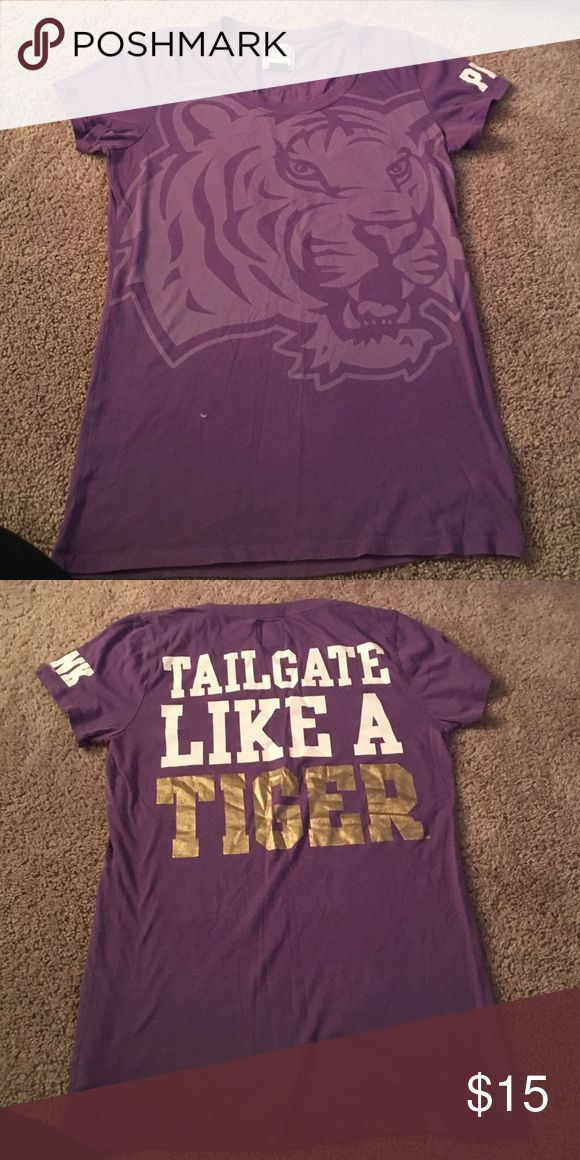 Pink Collegiate Collection LSU Tigers shirt Size L Love this LSU PINK shirt. The back says Tailgate like a tiger. Perfect for those LSU tailgate parties at the football or baseball games! PINK Victoria's Secret Tops Tees - Short Sleeve