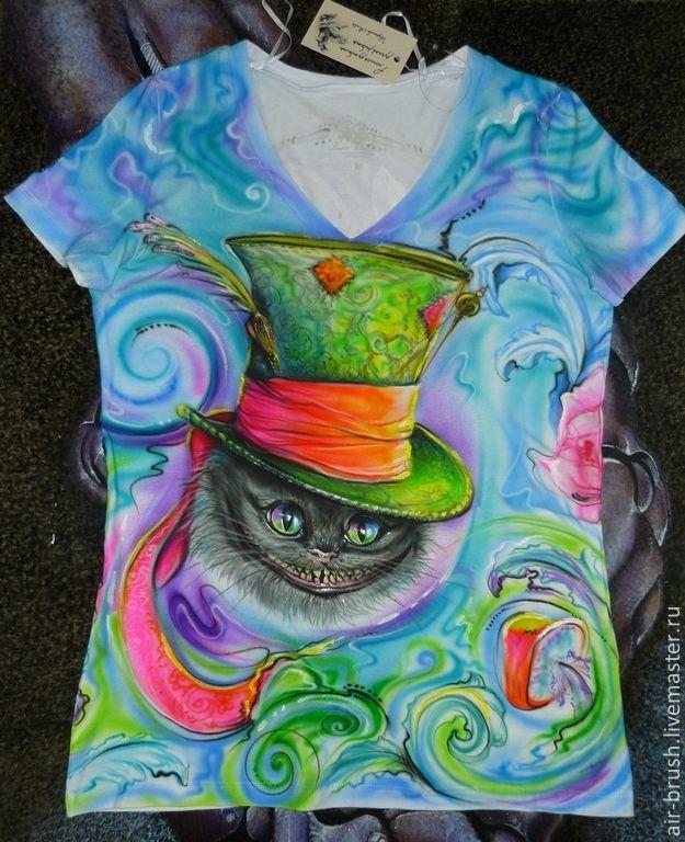 """Купить Футболка с рисунком """" Страна чудес 2"""" - разноцветный, рисунок, чеширский кот, шляпа"""