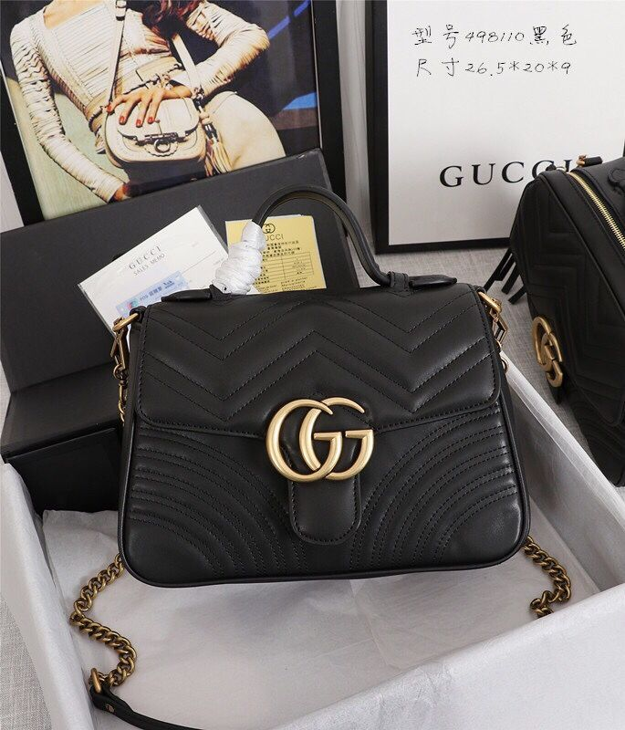 154 41 High Quality Gucci Casual Genuine Leather Womens Chains Fashion Hasp Top Handle Bags Black