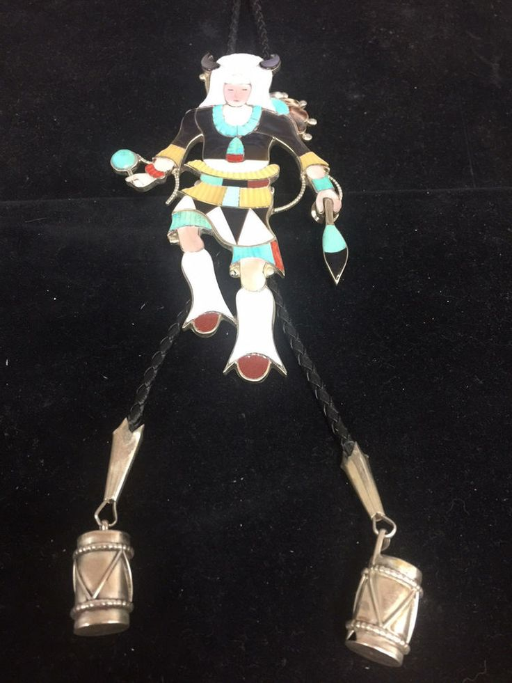Hand made by Zuni silversmith Jonathan Beyuka. The feather in his left hand is removable & can be worn as a tie tac, a unique Beyuka bolo feature. Son of Eddie Beyuka,(1920-2002), Jonathon was taught by a master Zuni silversmith, his Father. | eBay!