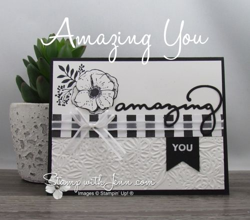 """""""Amazing You"""" is one of the gorgeous stamp sets you can for free during Stampin' Up!'s Sale-a-bration promotion. This card also shows the matching dies."""