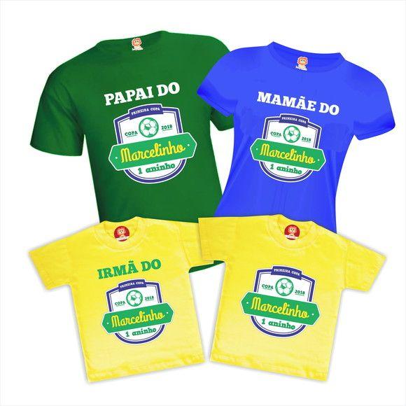 Camisetas de Aniversário Copa do Mundo Brasil - Kit Composto por 4 camisetas   1 Camiseta 25fd5107f0115