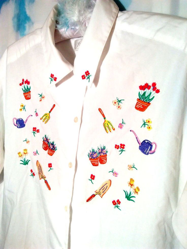 Foxcroft White Button Down Blouse Embroidered Short Sleeves Career Size 14 #Foxcroft #ButtonDownShirt #Career