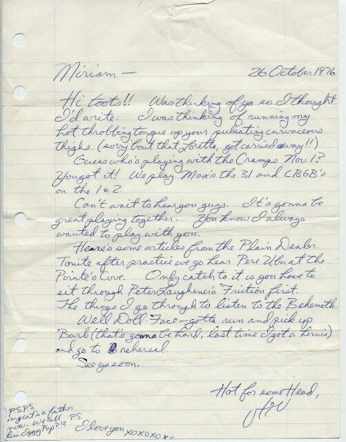 A letter from Stiv Bators to Miriam Linna letting her know that the Dead Boys would play along w/ The Cramps at CBGB and Max's Kansas City, 26 October 1976.