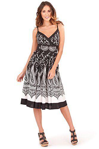 12ebca6999a Small (UK 8-10) Black Paisley) - Pistachio Women s Midi Casual Dress ...
