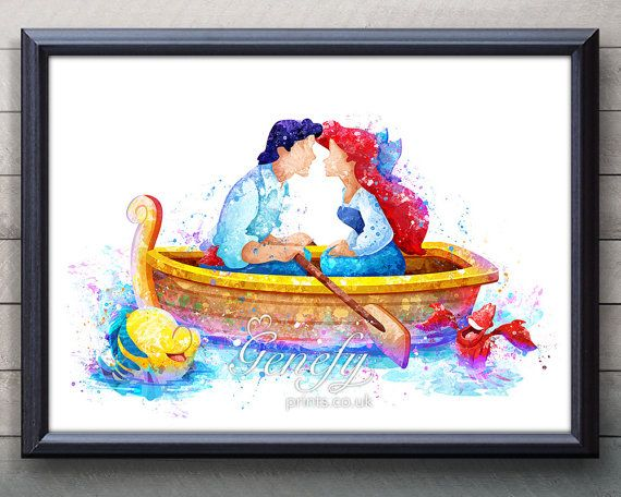 Disney Ariel Little Mermaid and Prince Eric Watercolor Art - Wall Decor- Watercolor Painting - Watercolor Art - Kids Decor- Nursery Decor