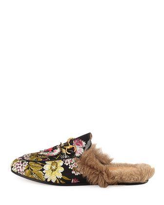 fur-lined princetown jacquard mule+gucci