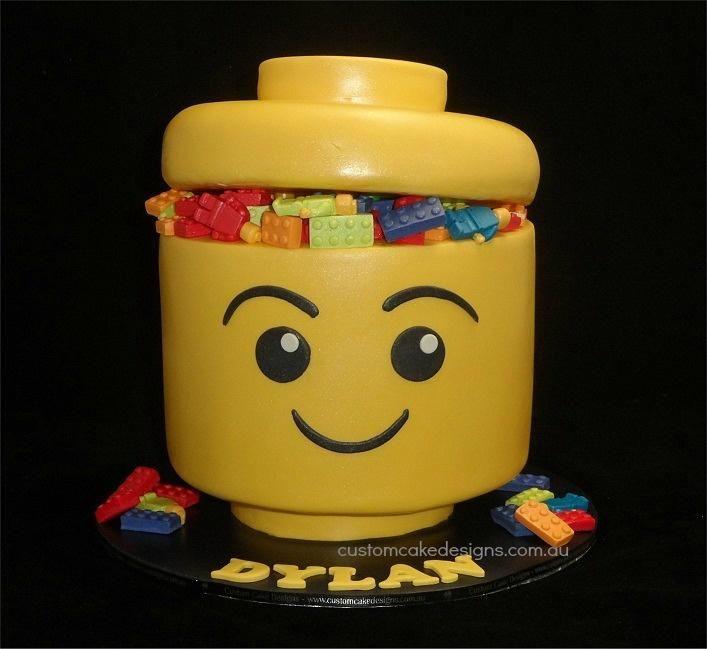 Lego Head Cake Cake By Customcakedesignsoz Cakes For