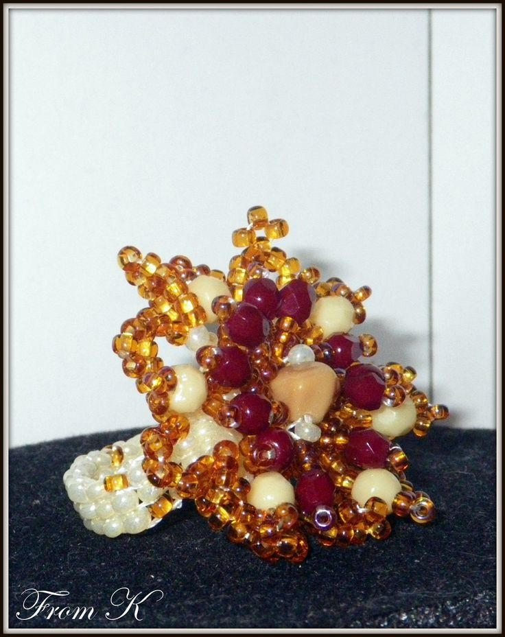 Flower ring, is just big enough to stand out, but still small enough for everyday wear with any outfit from casual to elegant. (Perfect Autumn colors -- combo of cream, sand, light brown and cherry). Czech beads are used only. For more photos, prices and other info, please visit my facebook page https://www.facebook.com/media/set/?set=a.255836934442612.81617.246629745363331&type=3