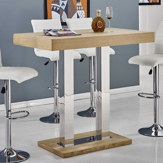 0645376d366 Caprice Bar Table Rectangular In Oak And Stainless Steel Support ...