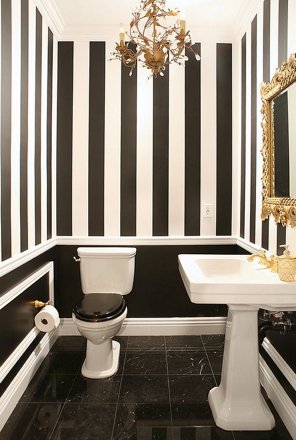 Black and white bathroom with golden charm