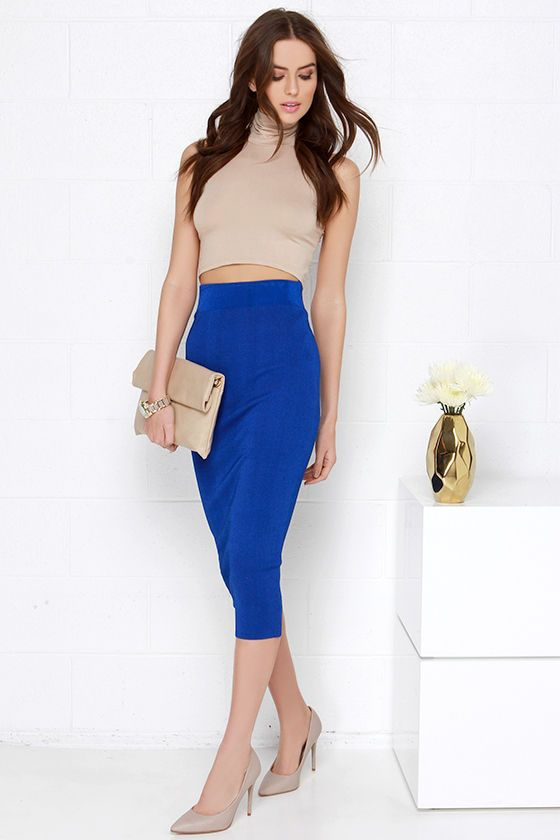 Do You Boo Royal Blue Bodycon Midi Skirt at Lulus.com!