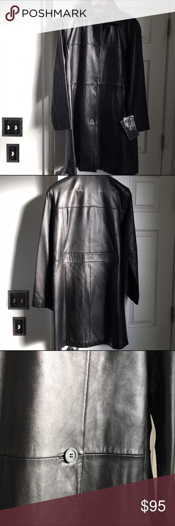 """Adler 100% leather coat. Women's leather knee length coat. Fully lined. slit pockets on sides. Single breasted with four front buttons. Length: 37"""", bust 40"""" hips 42"""" (all are approximate).  Runs like a Large. Feel free to ask questions. Adler Jackets & Coats"""
