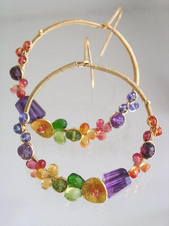Multi Gemstone Hoops Colorful 14k Gold Filled Earrings with