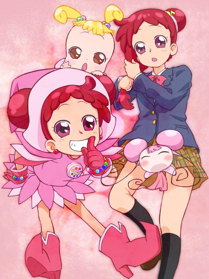Tags: Anime, Fairy, Ojamajo DoReMi, Harukaze Doremi, Knee High Socks, Makihatayama Hana, Pink Background