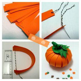 Calabaza de cartulina para Halloween #halloween #decoracion                                                                                                                                                                                 Más