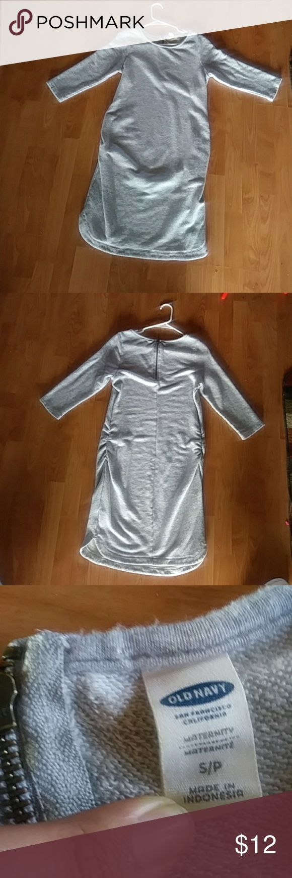 """Old Navy Maternity dress Worn through 2 pregnancies; super soft and comfy maternity dress that's made from sweatshirt material. The brand is Old Navy. The dress falls at the knee for women under 5'5"""" falls above the knee if above 5'5"""".  The dress does have some peeling which is shown in a photo above.  Size is Small but can accommodate a size Medium Old Navy Dresses Mini"""