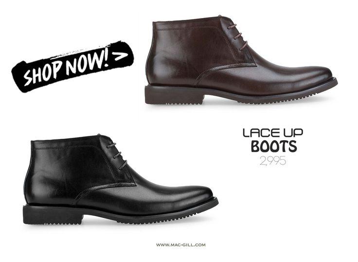 Hero Wears Boots, Black or Brown? Stand out this season wearing this lace up BOOTS which could be worn in both on and off duty staples stylishly. Genuine leather.  รองเท้าบู๊ท สีน้ำตาล/ ดำ จะกลายเป็นบู๊ตคู่โปรดของหนุ่มๆอย่างแน่นอนด้วยดีไซน์อันเฉี่ยวคม ตัดเย็บจากหนังแท้คุณภาพดีช่วยเสริมลุคให้คุณดูสมาร์ทขึ้นอีกเป็นกอง ผลิตจากหนังแท้ ทรงหัวมน SHOP NOW: http://www.mac-gill.com Follow #macandgillshoes